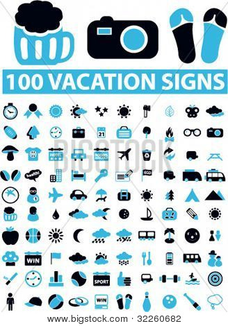 100 cool vacation signs. vector