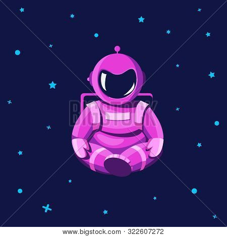 Cosmonaut In A Spacesuit With Yoga Gestures. The Astronaut In The Lotus Position Is Floating In The