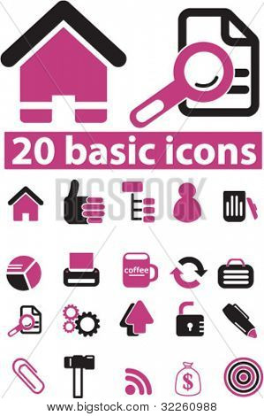 20 pink basic icons. vector