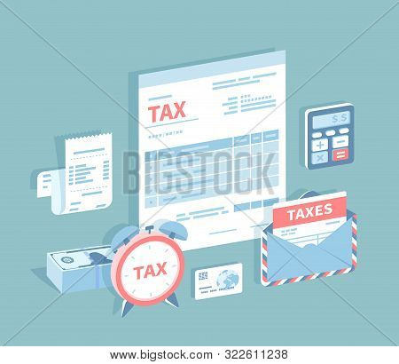 Payment Of Accounts And Taxes. Filling And Calculating Tax Form. Document Form, Bill, Calculator, En