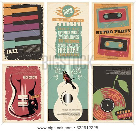 Vintage Collection Of Musical Posters. Flyers Set For Retro Parties, Rock And Jazz Concerts, Classic