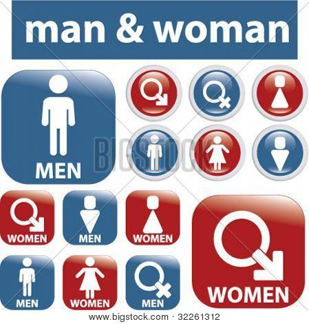 man & woman buttons. vector