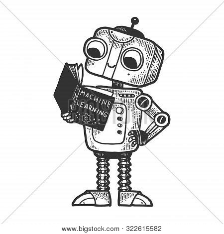 Robot Child With Machine Learninig Book Sketch Engraving Vector Illustration. Machine Learning Metap