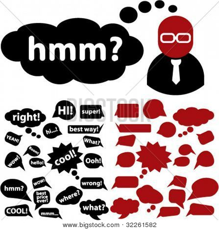 chat & idea, thought & thinking signs, icons & bubbles, vector