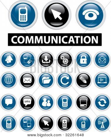 communication & network buttons & signs, vector