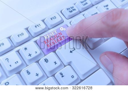 Conceptual hand writing showing Reset Realign Restart. Business photo text Life audit will help you put things in perspectives White pc keyboard with note paper above the white background. poster