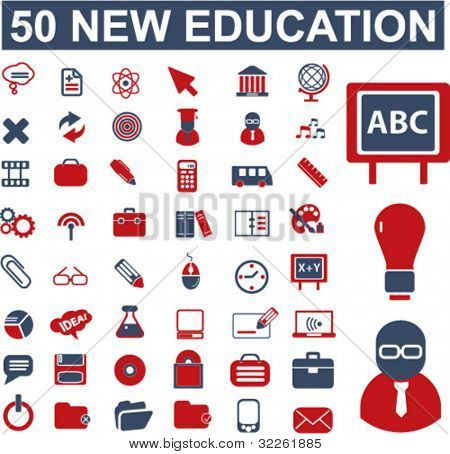 50 new education & school, science icons, signs, vector illustrations