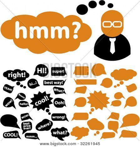 chat & idea bubbles, icons, signs, vector illustrations