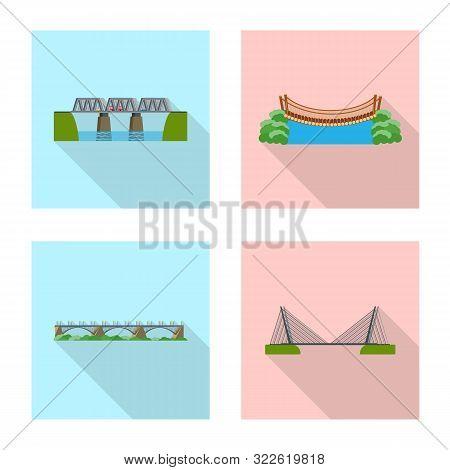 Vector Design Of Bridgework And Bridge Symbol. Collection Of Bridgework And Landmark Stock Vector Il