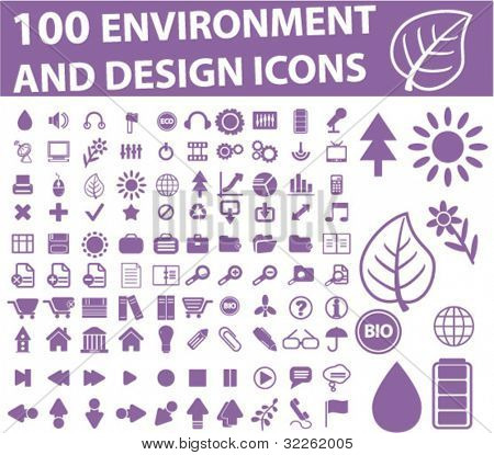 100 environment & design icons, vector