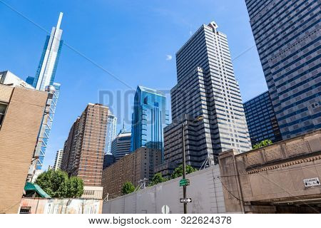 Highrise buildings in Philadephia, USA downtown. Skyscrapers on blue sky
