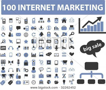 100 internet marketing icons, signs, vector illustrations