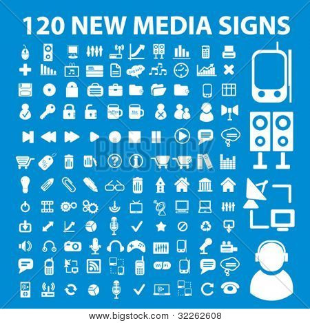 120 new media signs, icons, vector illustrations