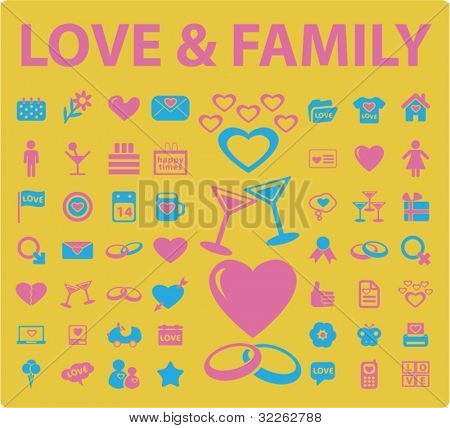 love & family icons, signs, vector