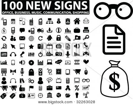 100 new signs, icons, vector