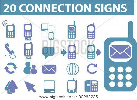 20 connection signs, icons, vector