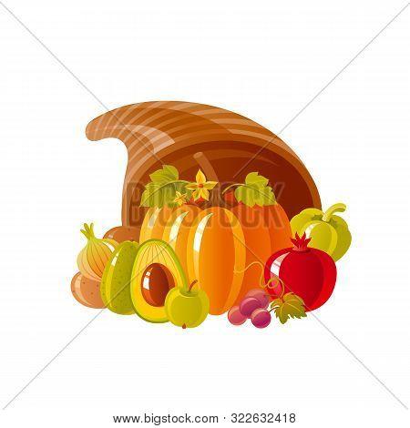 Cornucopia Horn Of Plenty. Fruit Vegetable Basket. Autumn Fall Icon For Harvest Festival Or Thanksgi