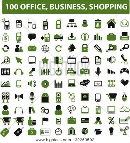 100 office, business, shopping green icons, signs, vector illustrations