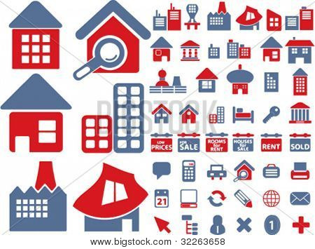 house & real estate icons, sings, vector