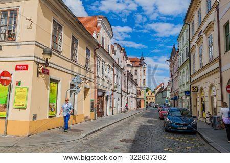 Ceske Budejovice, Czech Republic - June 14, 2016: Cobbled Street In Ceske Budejovice, Czech Republic