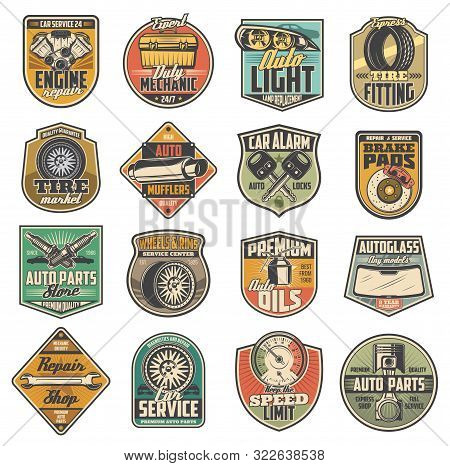 Car Repair Service, Spare Parts Shop Retro Icons. Vector Speed Limit Sign, Mechanic Wheel And Tire R