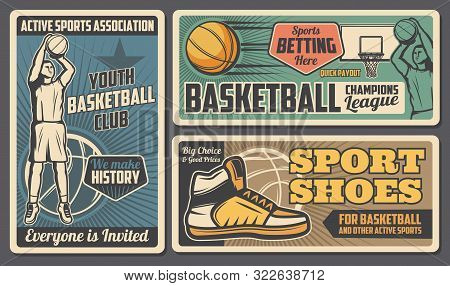 Basketball Youth Club, League And Betting Payout. Vector Retro Style Team Streetball Player, Basketb