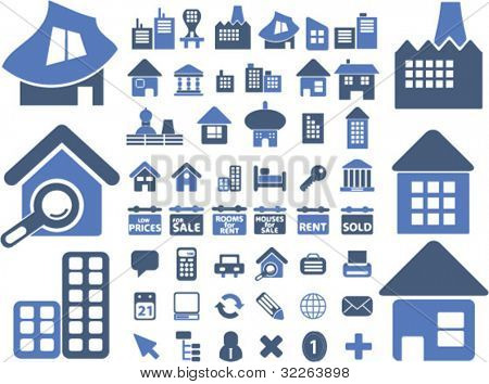 houses & buildings icons, illustrations, vector