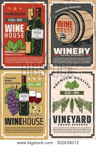 Winemaking House And Winery Grand Reserve. Vector Wine Production Factory And Shop, Wooden Barrels A