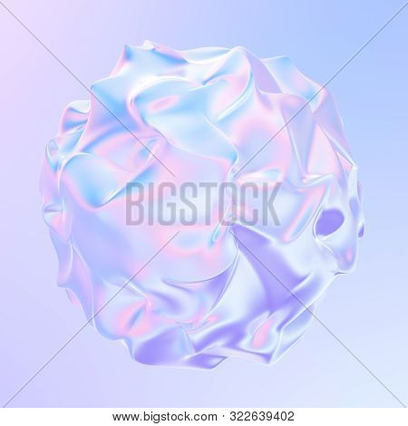 Fluid Colorful Holographic Shape Abstract 3d Background. Holographic Liquid Element For Your Trendy