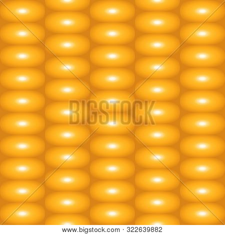Summer Texture Of Food Corn. Seamless Pattern Fresh Pulp Of Corn On The Yellow Background. Vector Il