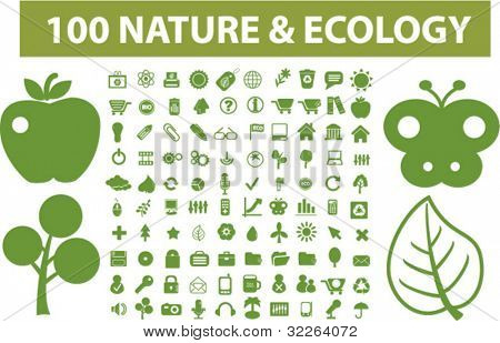 100 nature & ecology icons, vector