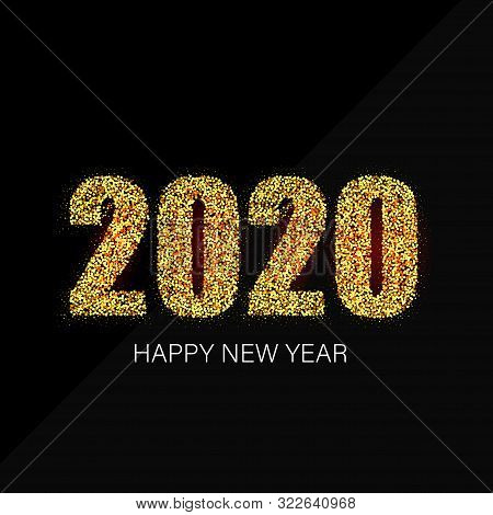 Happy New Year 20120 Greeting Card With Gold Numbers On Black Background. Vector Illustration. Merry