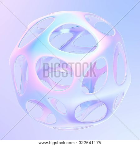 Glowing Geometric Metallic 3d Shape In Holographic Colors. Abstract Modern Graphic Design Element Fo