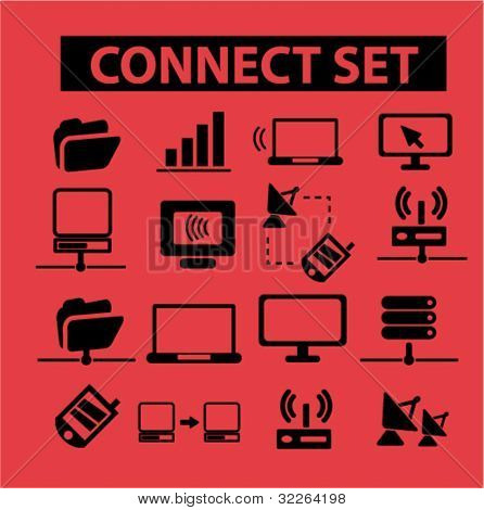 connection & communication icons, vector