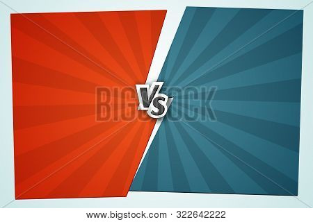 Versus Vs Background Letters Vs On The Gap Red And Blue Background Of Lines Rays Blank Template Back