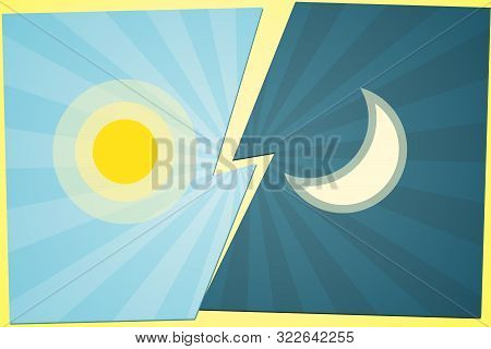 Versus Vs Background Sun Vs Moon On The Gap Blue Background Of Lines Rays Creative Template Icon Sun