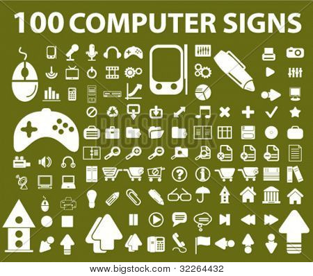 100 computer signs, icons, vector