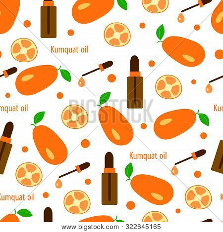 Seamless Pattern With Citrus Kumquat And Essential Oil In Bottles With Dropper, Aromatherapy Vector