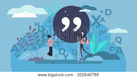 Quote Vector Illustration. Flat Tiny Punctuation Quotation Mark Persons Concept. Abstract Inverted P