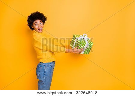 X-mas Christmas Time Concept. Photo Of Amazed Astonished Teenager Getting Huge Container With Secret