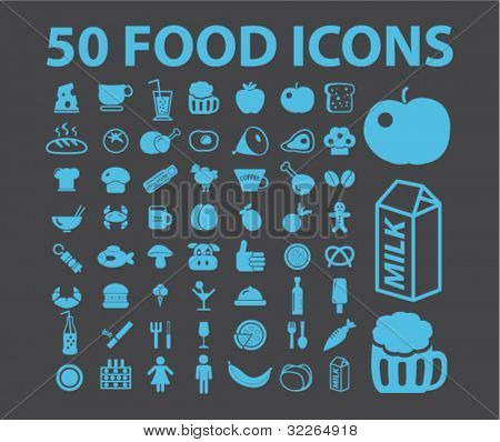 50 food icons, signs, vector illustrations