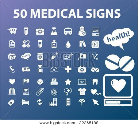 50 medical icons, signs, vector illustrations set