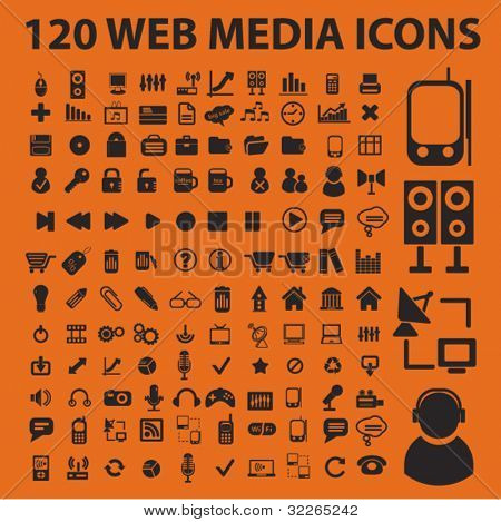 120 web media icons, signs, vector illustration