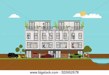 Flat Illustration Of Big Modern Townhouse Residence Estate