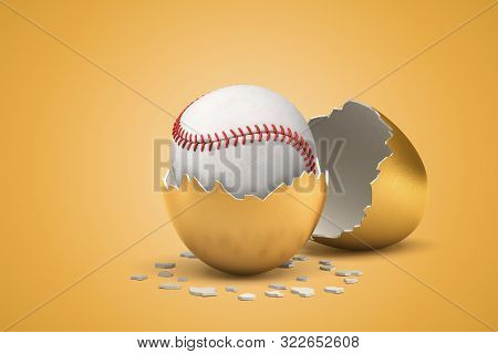 3d Rendering Of White Baseball Ball Hatching Out Of Golden Egg On Yellow Background