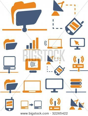 network & connection icons, signs, vector illustration set