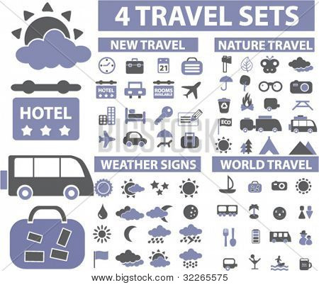 100 travel icons, signs, vector