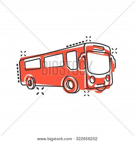 School Bus Icon In Comic Style. Autobus Vector Cartoon Illustration On White Isolated Background. Co