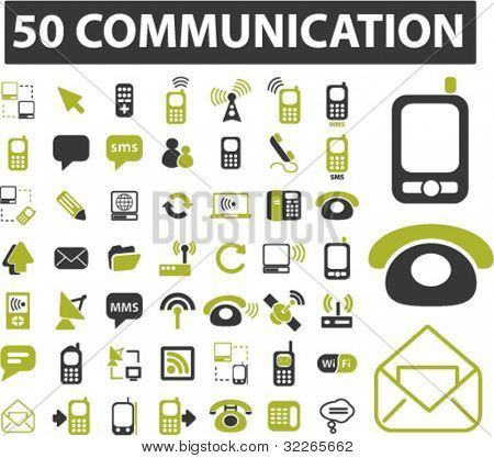 50 communication icons, signs, vector set, illustrations