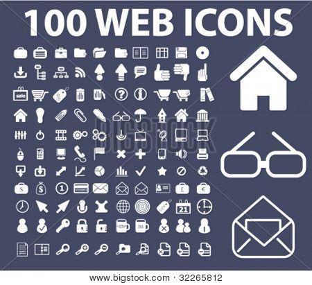 100 web icons set, vector illustrations